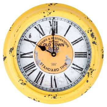Antique Yellow Round Old Town Metal Yellow Wall Clocks
