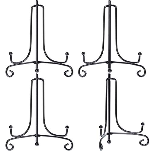 Tatuo 4 Packs Iron Display Stand, Iron Easel Plate Display, Photo Holder Stand for Home Decoration (Black, 4 Inch) (Mask Stand Display)