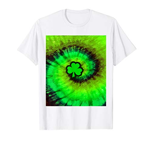 Tie Dye Shamrock Shirt | Spiral Irish Tie-Dyed T-shirt - Yellow Shamrock T-shirt Irish