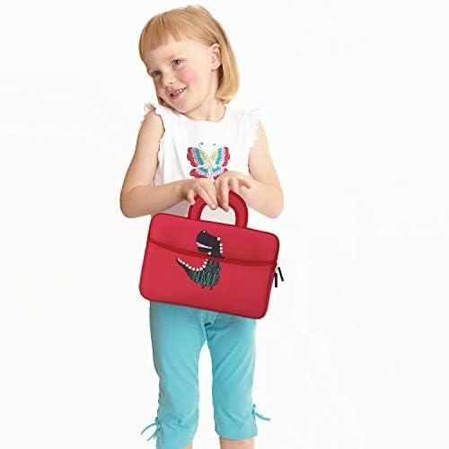 MoKo 7-8 Inch Kid Sleeve for Amazon Tablet, Neoprene Case Bag Fits Fire HD 8 Kids Edition 2018/2017, Fire 7 Kids Edition 2019/2017, Fire HD 8 2018/2017, Fire 7 2019/2017 - Dinosaur Red
