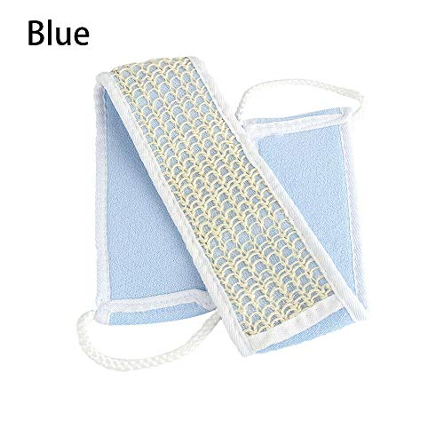(Shower Supplies Body Cleaning Back Scrubber Loofah Sponge Bath Brush Strap (Color - blue))