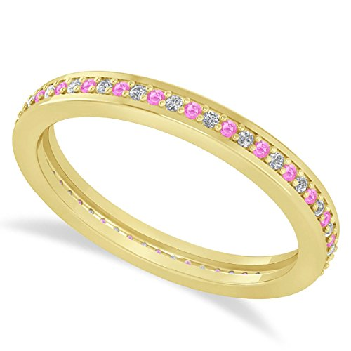 (0.28ct) 14k Yellow Gold Diamond and Pink Sapphire Eternity Channel/Prong Set Wedding Band ()