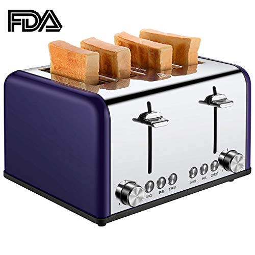 4 Slice Toaster, CUSIBOX Extra Wide Slots Toaster with BAGEL/DEFROST/CANCEL Function, Stainless Steel Four Slice Bread Bagel Toaster, 1650W, Purple
