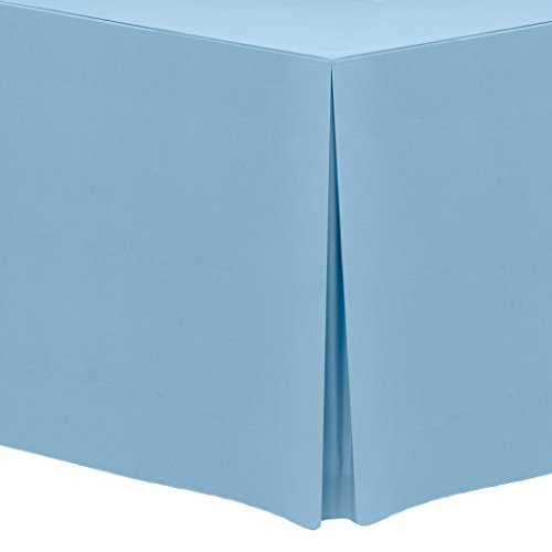 Ultimate Textile 6 ft. Fitted Polyester Tablecloth - for 30 x 72-Inch Banquet and Folding Rectangular Tables, Light Baby Blue