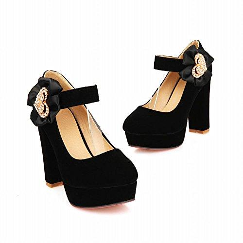Carol Chaussures Mode Femmes Grâce Douce Décorations En Strass En Forme De Coeur Haut Talon Mary Janes Chaussures Noir