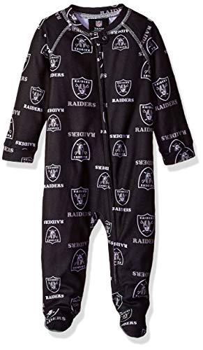 NFL Oakland Raiders Newborn & Infant Raglan Zip Up Coverall Black, 18 Months