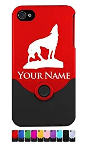 Engraved iPhone 4/4S Case/Cover - HOWLING WOLF, COYOTE - Personalized for FREE (Send us an Amazon email after purchase with your engraving request)