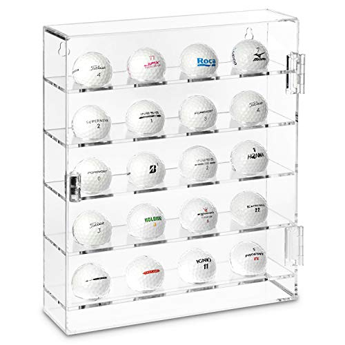 - Ikee Design Acrylic Mountable Golf Balls Display Case Cabinet Wall Rack Holder, Acrylic Clear Display Rack Case, Clear Organizer Storage for 20 Golf Balls