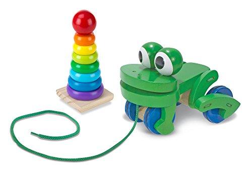 Melissa & Doug Rainbow Stacker & Frog Pull Toy Bundle