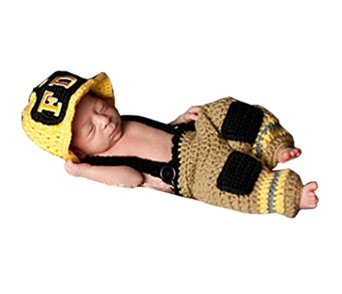 Pinbo® Newborn Baby Photo Prop Crochet Firefighter Fireman Hat Pants -
