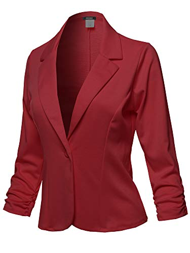 Casual Solid One Button Classic Blazer Jacket - Made in USA Burgundy Size 3XL ()