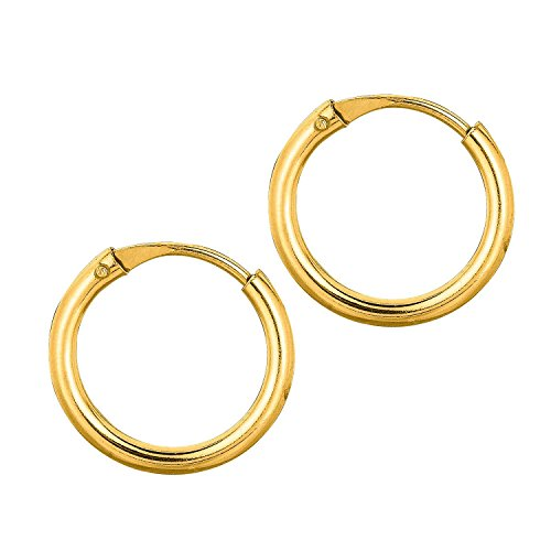(14k Yellow Gold 9x0.5x9mm Endless Hoop Earring With Endless Clasp)