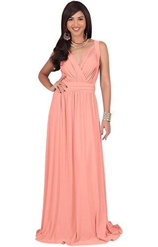 Light Pink Cocktail Dresses - KOH KOH Womens Long Sleeveless Flowy Bridesmaids Cocktail Party Evening Formal Sexy Summer Wedding Guest Ball Prom Gown Gowns Maxi Dress Dresses, Light Pink Peach M 8-10