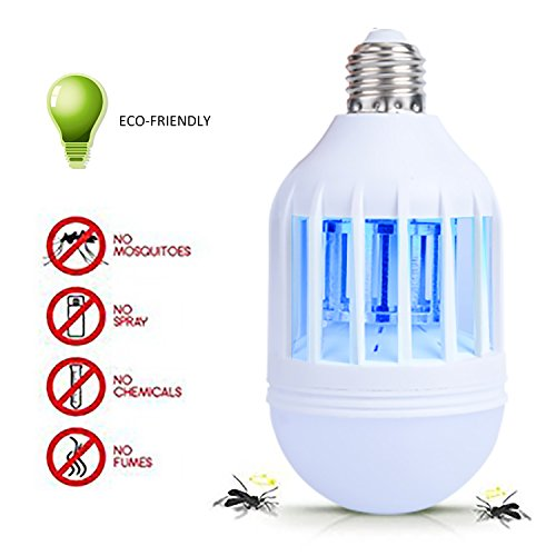 Fanme Electric Bug Mosquito Zapper Bulb Insect Killer LED Light Zapping Lamp with Built in Insect Trap Energy Efficient Porch 110V 12W