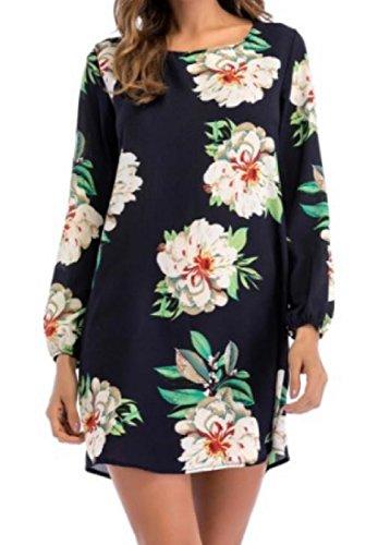 Coolred-femmes Occasionnels Haut Lacets Coupe Floral À Manches Longues Robes À L'arrière As1