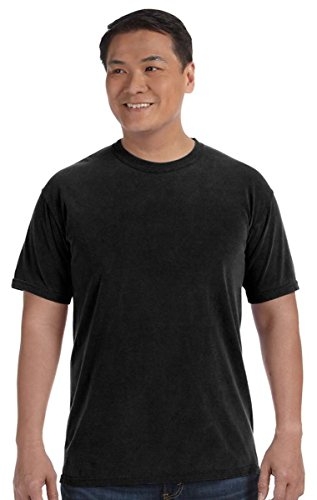 Chouinard Comfort Men's Ring-Spun Garment-Dye Hem T-Shirt, Black, S (Pack of 6) (Ringspun Dye Garment)