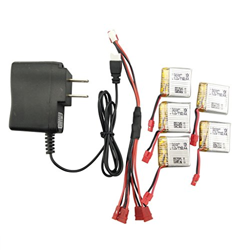 sea jump accessories for SYMA X21 X21W Quadcopter Spare Parts 5PCS 3.7V 380mah Lithium Battery+1pcs Charger +1to5 Conversion Cable by sea jump