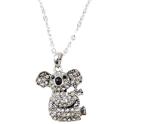 Koala Bear Black & Clear Crystals Silver Chain Fashion Ne...