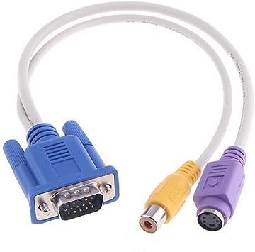 Wewoo Cable Tarjeta de Video VGA a el Adaptador de Pantalla RCA y S-Video TV: Amazon.es: Electrónica