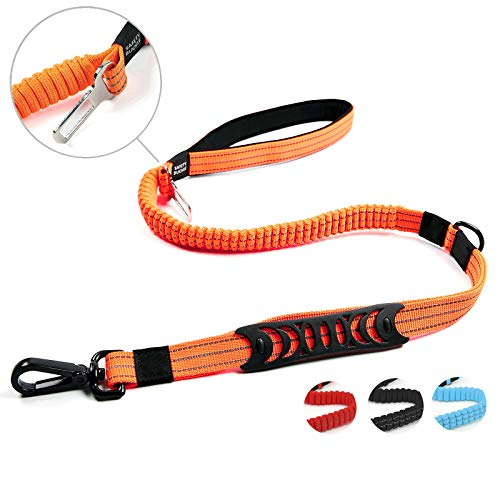 Petvins Heavy Duty Dog Leash - Reflective Nylon Dog Training Rope with Padded Handles - Dog Car Seat Belt - Strong No Pull Bungee for Shock Absorption, Orange