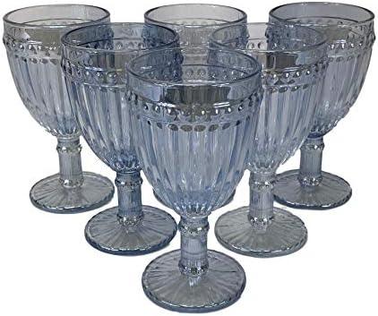Homevibes Juego de 6 Copas De Vino con Relieve, Capacidad 330ml, Medida 8x16.5, Diseño Retro, Cristaleria De Calidad (Cristal Blue)