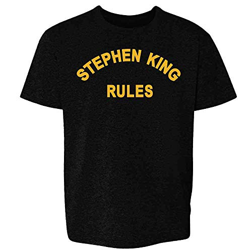Stephen King Rules Horror Movie Funny Costume Black L Youth Kids Girl Boy T-Shirt