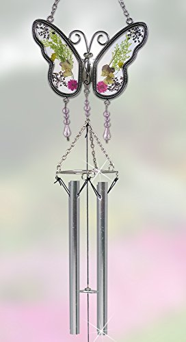 Butterfly Suncatcher Windchime with Real Pressed Flower Wings