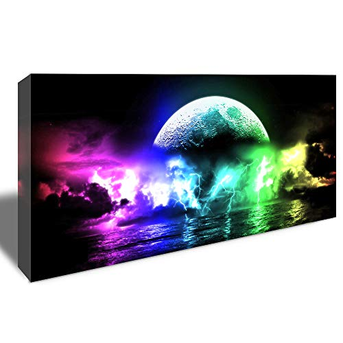 - Canvas Wall Art Ocean Lightning Wall Art Ocean Waves Lightning Storm Weather Natural Seascape Paintings Picture Print on Canvas Giclee Artwork for Home Office Decor 20