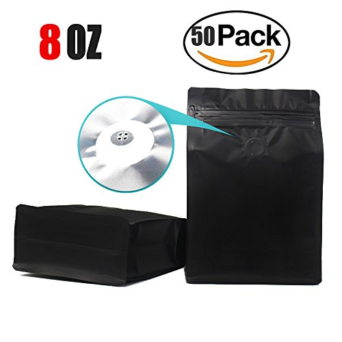 Stand-up Storage Bags Pouches Airtight Coffee Bean Flower Tea Snack Dried Fruit Food with Degassing Valve 8 OZ High Barrier 50 Pack Zipper