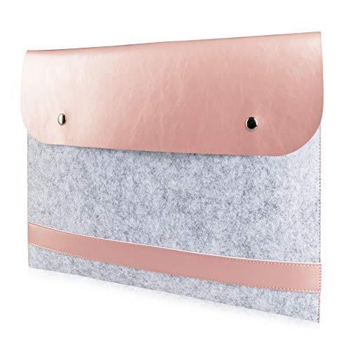 ABRONDA Leather Laptop 14-15.4 inch Sleeve Case Felt Sleeve Protective Bag Lightweight for 15.4