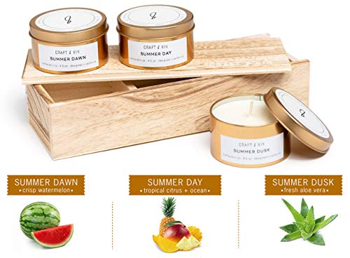 Soy Candle Scented Candle Set - Gold Travel Tin Scented Candles Set Summer Scent Variety Pack Candle Set Stress Relief Natural Soy Candles Candle Sets Stress Relief Candle