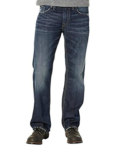 Silver Jeans Men's Zac Relaxed Fit Straight Leg Jeans with Flap Pockets, Medium Hand Sand 38x32