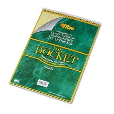 TOPS - Docket Wirebound Ruled Pad w/Cover, Legal Rule, Ltr, Canary, 70 Sheets 63621 (DMi EA by Tops by TOPS