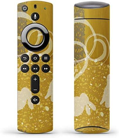 igsticker Fire TV Stick 第2世代 専用 リモコン用 全面 スキンシール フル 背面 側面 正面 ステッカー ケース 保護シール 014866 うさぎ 月 お月見 黄色