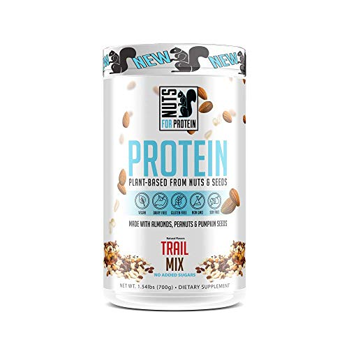 (Nuts For Protein - Plant Based Protein Powder Supplement Derived from Almonds, Peanuts and Pumpkin Seeds | Keto & Paleo Friendly, Non-Dairy, Low Carb, Low Sugar | Trail Mix, 20 Servings)