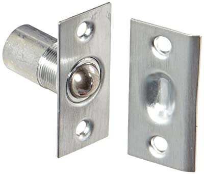 "Rockwood 910.3 Brass Adjustable Ball Catch with Narrow Strike Square Corners, 1"" Width x 2-1/8"" Height, Satin Chrome Plated Finish"