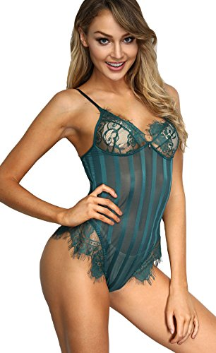 The Victory of Cupid Women Teddy Lingerie Eyelashes Lace Deep V One Piece Babydoll Mini Bodysuit (L, Dark green-3)