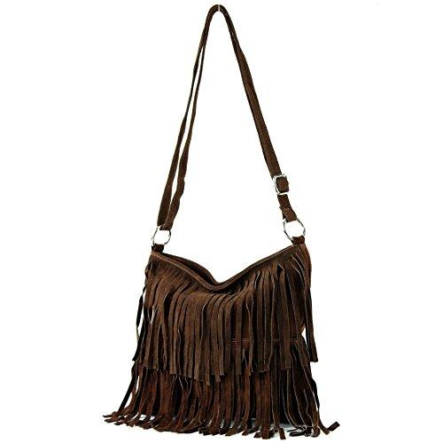 Bolso de piel italiano, bolso para colgar, bolso para el hombro, ante T125 marrón chocolate