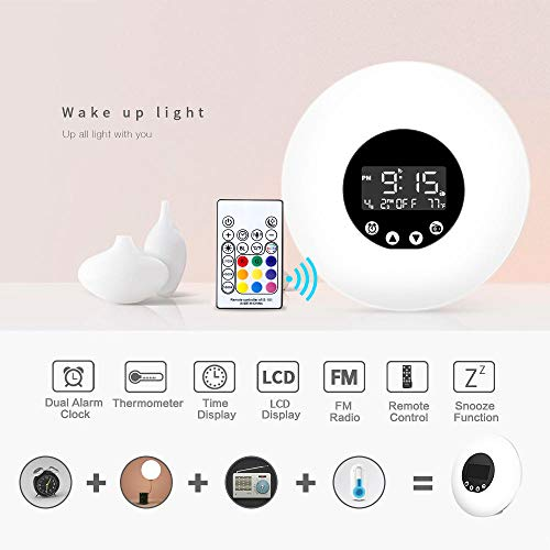 Sunrise Alarm Clock Wake Up Light with 9 Colors Changing, FM Radio, 8 Nature Sounds,LCD Touch Control, Snooze Function and Sunrise Simulator Alarm Clock for Bedside, Adults and Kids
