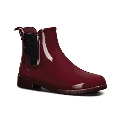 Womens Hunter Original Refined Chelsea Gloss Wellingtons Ankle Rain Boot Dulse RhIIIuh