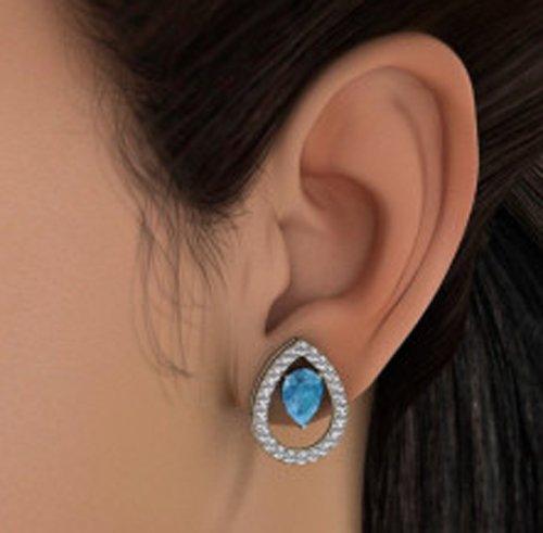 Or blanc 14K 0.57carat au total Round-cut-diamond (IJ | SI) et topaze bleue Boucles d'oreille à tige