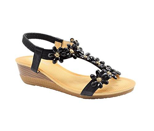 Golden Road VC7M G.N.D Women Shinny Flowers Summer Lady's Sandal #3701 (6, Black)