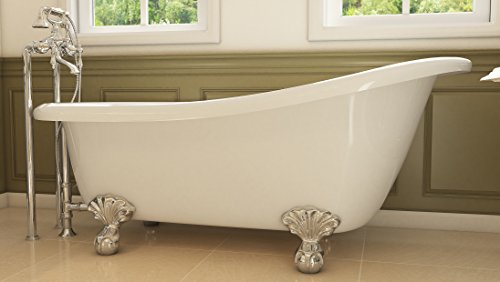 Luxury 67 inch Clawfoot Tub with Vintage Slipper Tub Design in White, includes Polished Chrome Ball and Claw Feet and Drain, from The Glendale Collection by Pelham & White (Image #8)