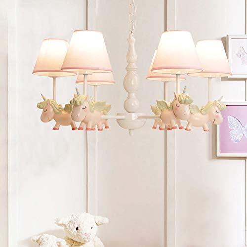 Modern Kids Chandelier Ceiling Pendant Light, CraftThink Lovely Resin Cartoon Horse Fresh European Children s Room Bedroom Living Room Ceiling Lights,L75W75H39cm,Pink- 6 Lights