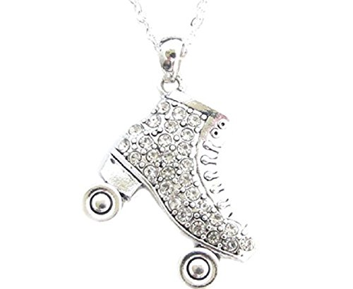 """FTH Roller Skate 18"""" Necklace is Embellished with Clear Crystal Rhinestones.Perfect Gift for Your Roller Skating Queen:"""