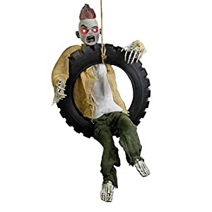 Halloween Haunters Animated 3 Foot Hanging Swinging Leg Kicking Zombie Boy Reaper in Tire Swing Prop Decoration – 16″ Diameter, Skeleton Laughs Howls, Red LED Eyes, Hang in Haunted House Tree Entryway