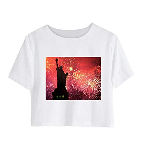 (ANJUNIE Women Independence Day Print Mini T-Shirt Tee Ladies Short Sleeve Crew Neck Solid Basic Crop Tops (3-Black,M))