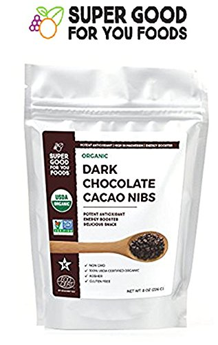 SUPER GOOD FOR YOU FOODS, Organic Raw Cacao Nibs Dark Chocolate, 8 Oz, USDA Certified, Gluten free, MADE IN USA