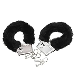 Ling88 Soft Steel Fuzzy Furry Cuffs Working Metal Handcuffs (Black)