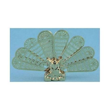 (Dollhouse BRASS PEACOCK FIRESCREEN MH3000 4H by International Miniatures)